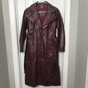 100% Genuine Leather Red Trench Coat